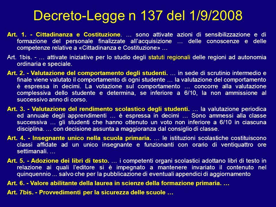 Decreto-Legge n 137 del 1/9/2008 Art. 1. - Cittadinanza e Costituzione. … sono attivate azioni di sensibilizzazione e di formazione del personale fina
