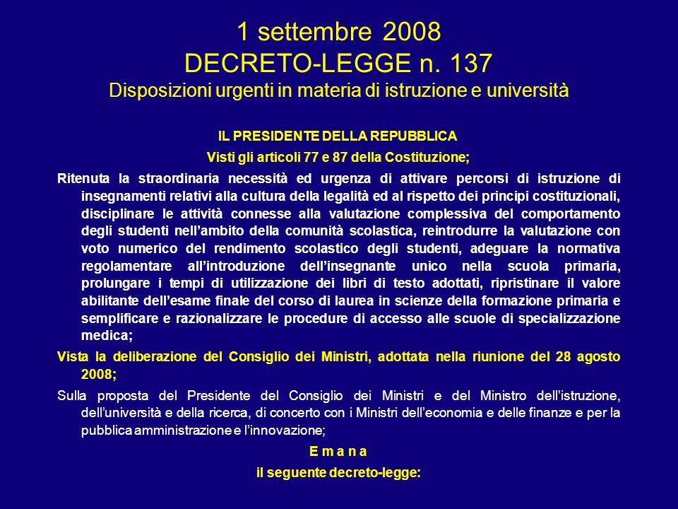 Art 5 - Adozione dei libri di testo 1.Fermo restando quanto disposto dall articolo 15 del decreto- legge 25 giugno 2008, n.