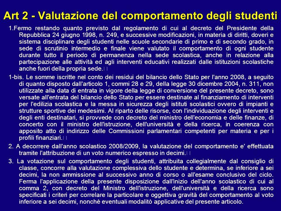 Art 2 - Valutazione del comportamento degli studenti 1.Fermo restando quanto previsto dal regolamento di cui al decreto del Presidente della Repubblica 24 giugno 1998, n.