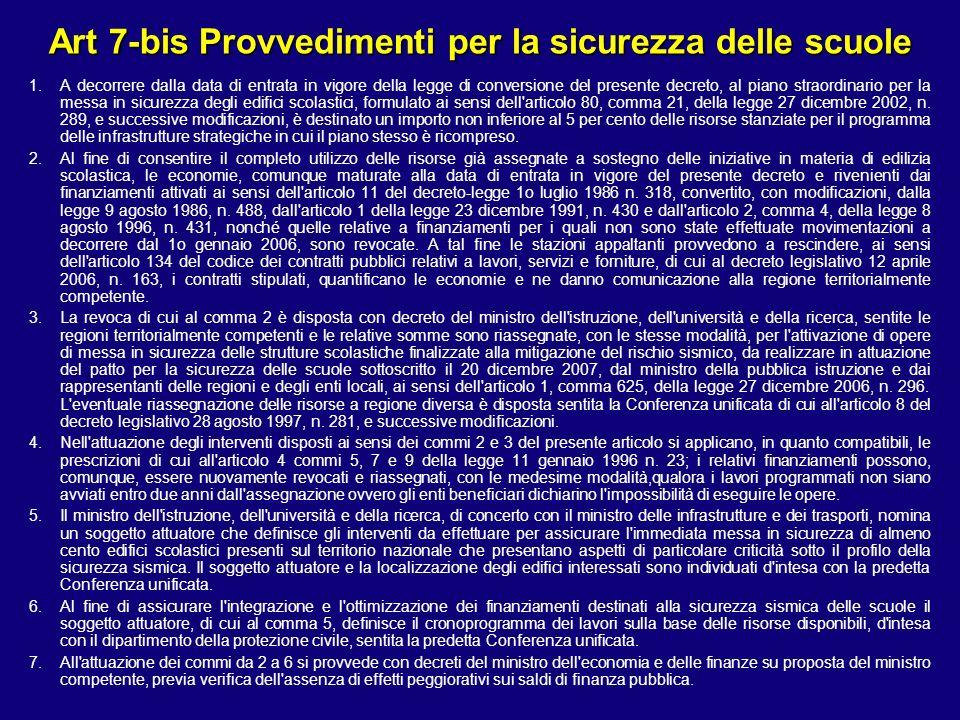 Art 7-bis Provvedimenti per la sicurezza delle scuole 1.A decorrere dalla data di entrata in vigore della legge di conversione del presente decreto, a