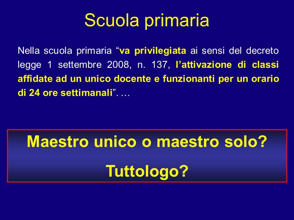 Scuola primaria Nella scuola primaria va privilegiata ai sensi del decreto legge 1 settembre 2008, n. 137, lattivazione di classi affidate ad un unico