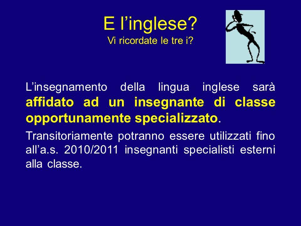 E linglese? Vi ricordate le tre i? Linsegnamento della lingua inglese sarà affidato ad un insegnante di classe opportunamente specializzato. Transitor