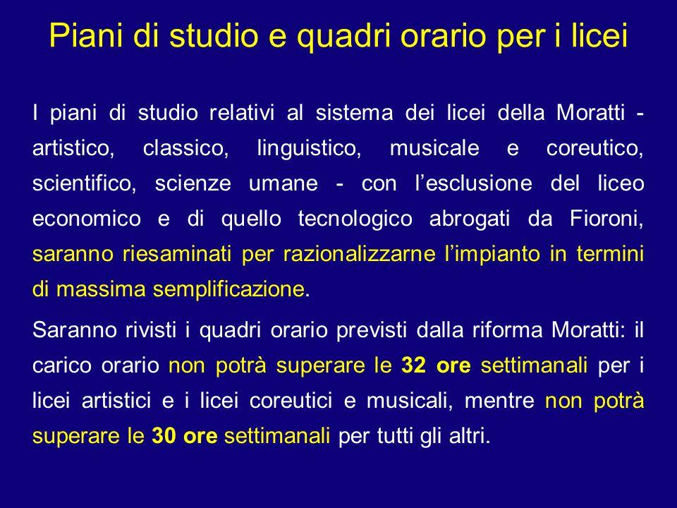 Piani di studio e quadri orario per i licei I piani di studio relativi al sistema dei licei della Moratti - artistico, classico, linguistico, musicale