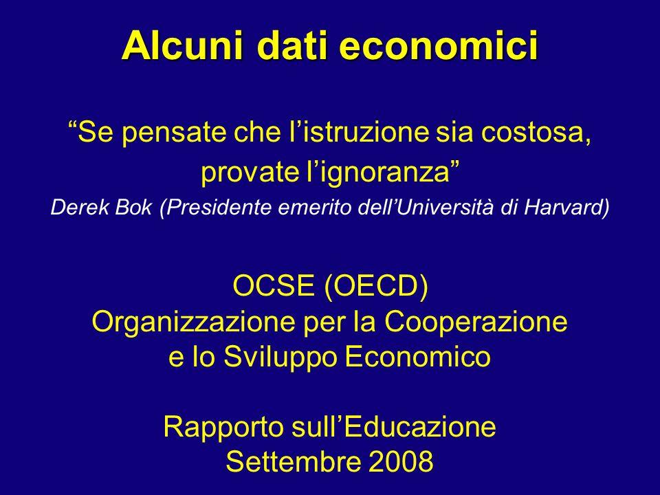 Alcuni dati economici Se pensate che listruzione sia costosa, provate lignoranza Derek Bok (Presidente emerito dellUniversità di Harvard) OCSE (OECD) Organizzazione per la Cooperazione e lo Sviluppo Economico Rapporto sullEducazione Settembre 2008