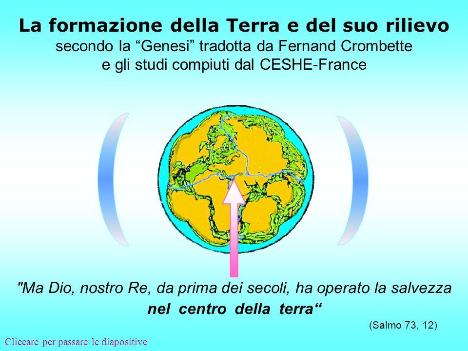 La formazione della Terra e del suo rilievo secondo la Genesi tradotta da Fernand Crombette e gli studi compiuti dal CESHE-France Ma Dio, nostro Re, da prima dei secoli, ha operato la salvezza nel centro della terra (Salmo 73, 12).