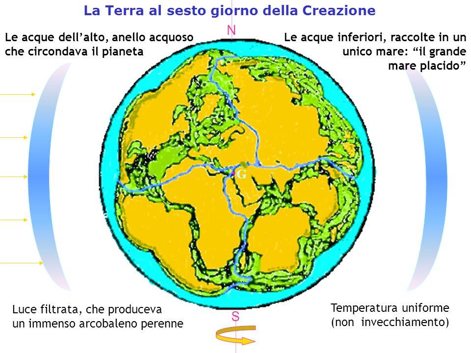 G La Terra al sesto giorno della Creazione Le acque dellalto, anello acquoso che circondava il pianeta Luce filtrata, che produceva un immenso arcobaleno perenne Temperatura uniforme (non invecchiamento) N S Le acque inferiori, raccolte in un unico mare: il grande mare placido