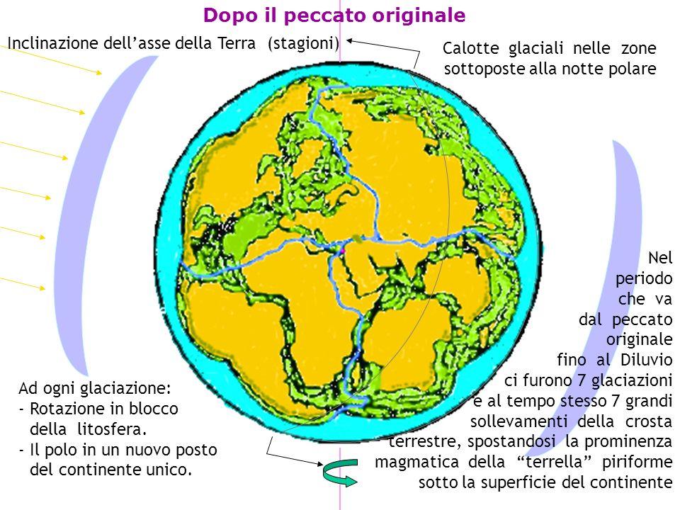 Dopo il peccato originale Inclinazione dellasse della Terra (stagioni) Calotte glaciali nelle zone sottoposte alla notte polare Ad ogni glaciazione: - Rotazione in blocco.