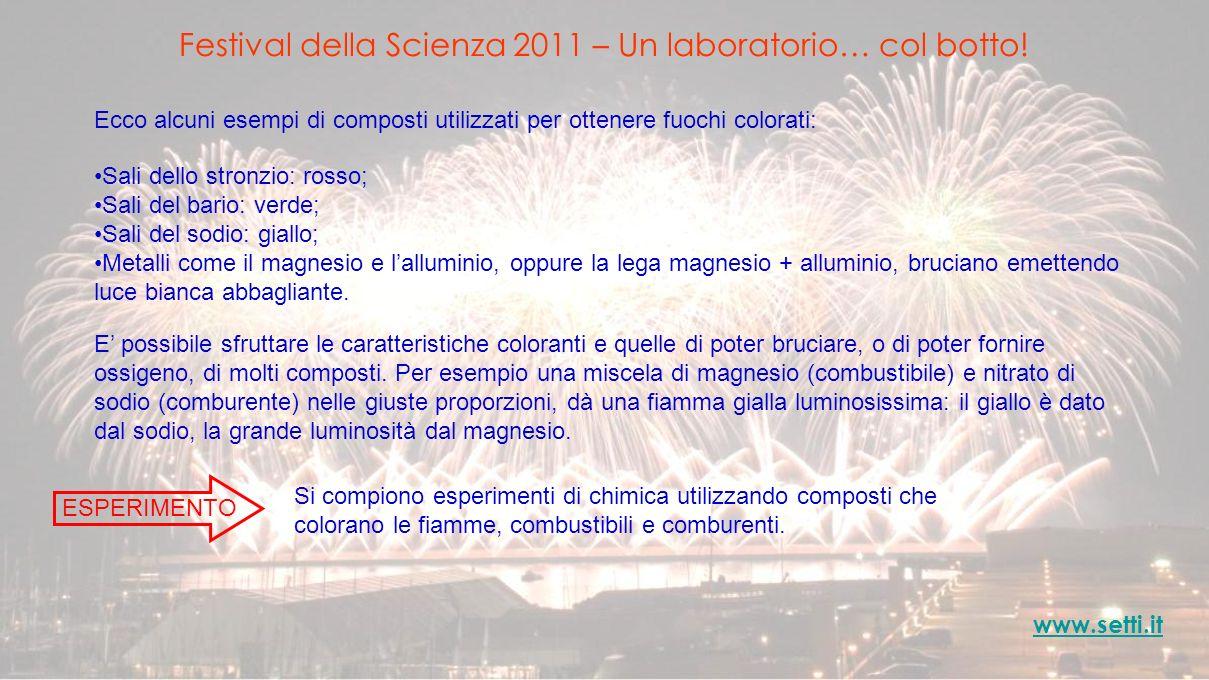 Festival della Scienza 2011 – Un laboratorio… col botto! www.setti.it Ecco alcuni esempi di composti utilizzati per ottenere fuochi colorati: Sali del