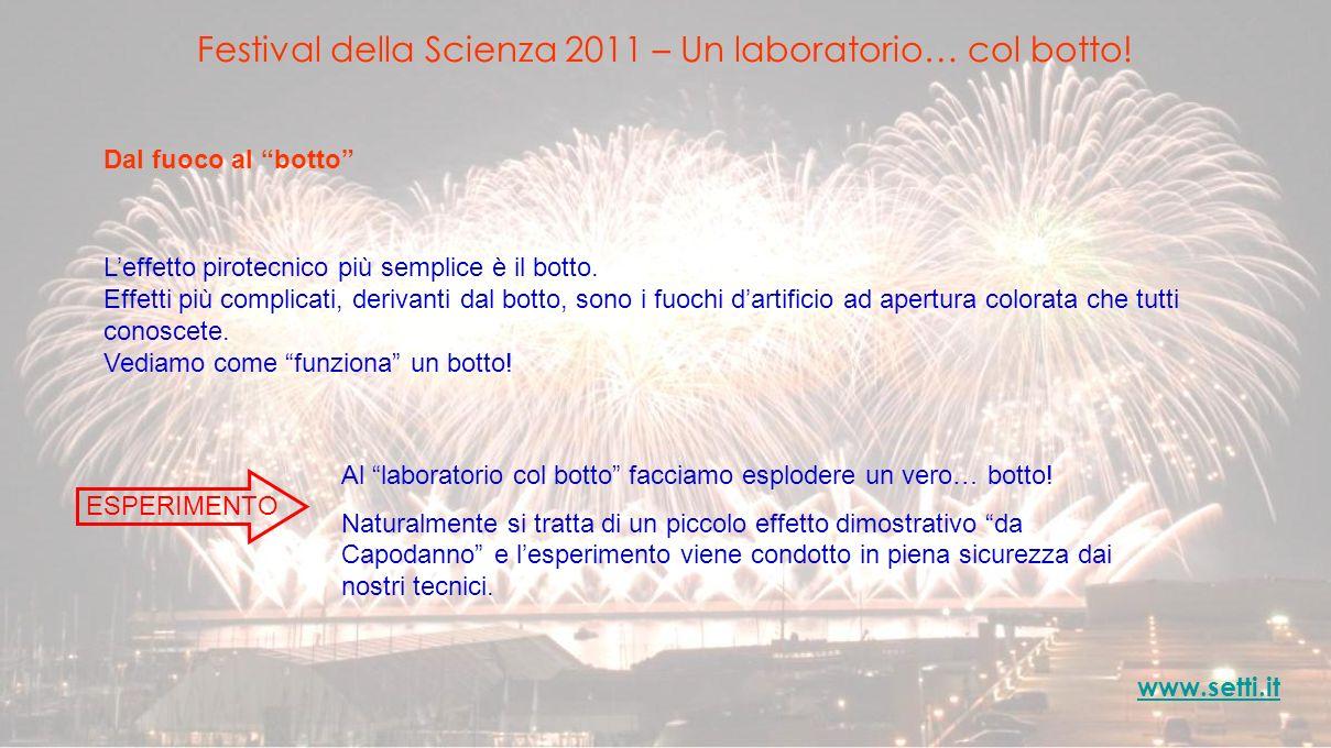 Festival della Scienza 2011 – Un laboratorio… col botto! www.setti.it Dal fuoco al botto Leffetto pirotecnico più semplice è il botto. Effetti più com