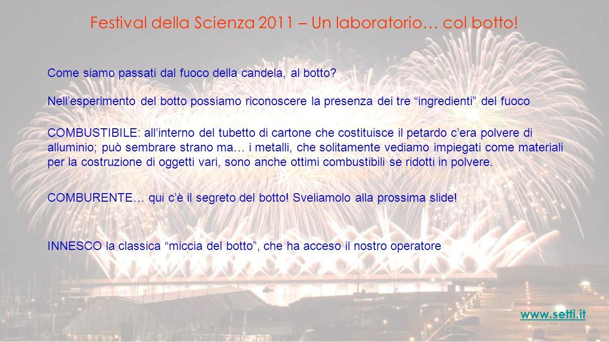 Festival della Scienza 2011 – Un laboratorio… col botto! www.setti.it Come siamo passati dal fuoco della candela, al botto? COMBUSTIBILE: allinterno d