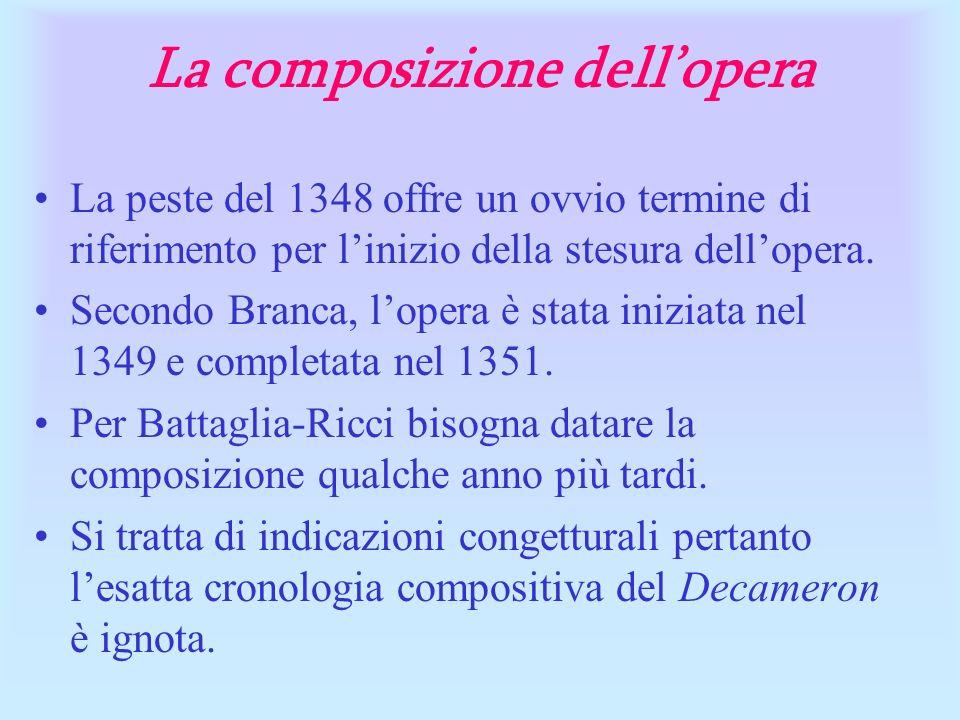 La composizione dellopera La peste del 1348 offre un ovvio termine di riferimento per linizio della stesura dellopera. Secondo Branca, lopera è stata