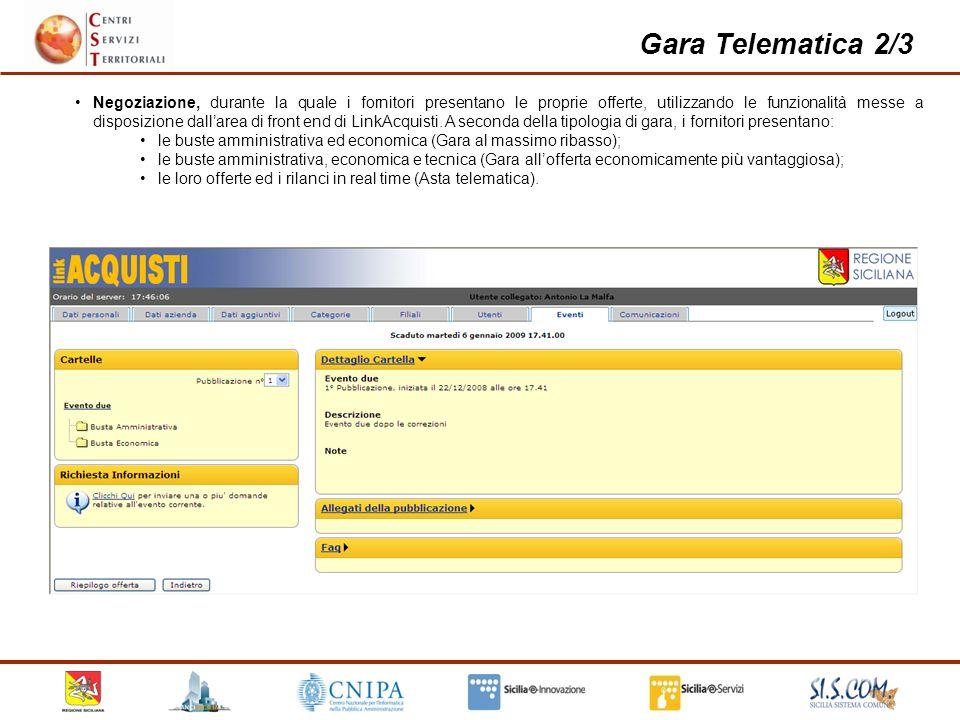 15 Gara Telematica 2/3 Negoziazione, durante la quale i fornitori presentano le proprie offerte, utilizzando le funzionalità messe a disposizione dallarea di front end di LinkAcquisti.