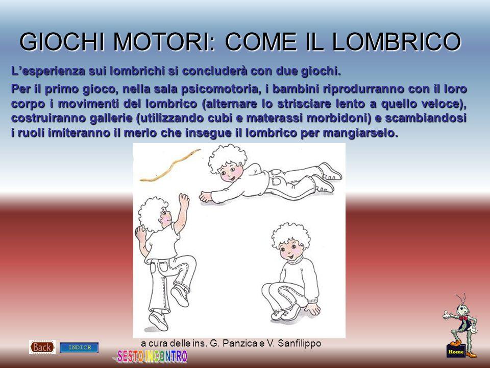 a cura delle ins. G. Panzica e V. Sanfilippo GIOCHI MOTORI: COME IL LOMBRICO Lesperienza sui lombrichi si concluderà con due giochi. Per il primo gioc