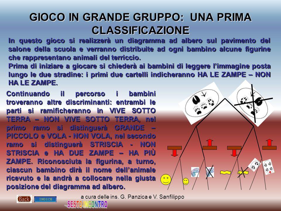 a cura delle ins. G. Panzica e V. Sanfilippo GIOCO IN GRANDE GRUPPO: UNA PRIMA CLASSIFICAZIONE In questo gioco si realizzerà un diagramma ad albero su