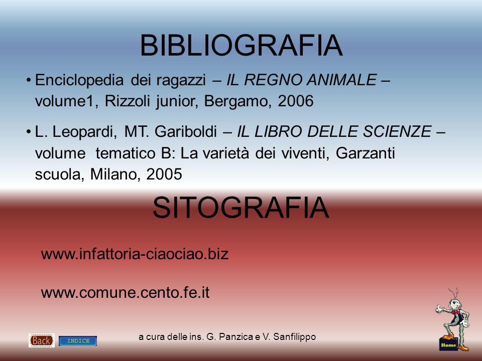 a cura delle ins. G. Panzica e V. Sanfilippo BIBLIOGRAFIA SITOGRAFIA www.infattoria-ciaociao.biz www.comune.cento.fe.it Enciclopedia dei ragazzi – IL