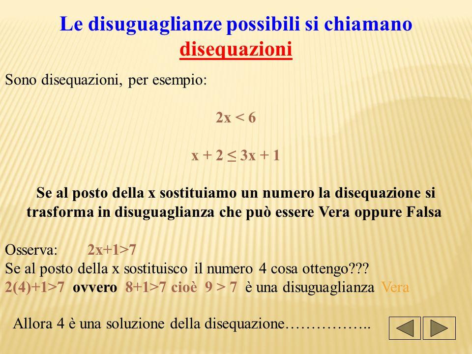 Le disuguaglianze possibili si chiamano disequazioni Sono disequazioni, per esempio: 2x < 6 x + 2 3x + 1 Se al posto della x sostituiamo un numero la