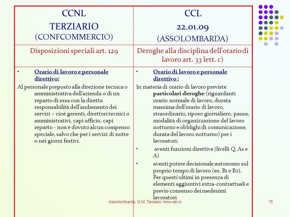 Assolombarda, G.M. Terziario Innovativo15 CCNL TERZIARIO (CONFCOMMERCIO) CCL 22.01.09 (ASSOLOMBARDA) Disposizioni speciali art. 129Deroghe alla discip