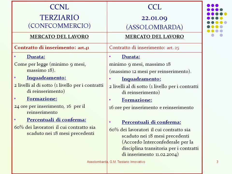 Assolombarda, G.M. Terziario Innovativo3 CCNL TERZIARIO (CONFCOMMERCIO) CCL 22.01.09 (ASSOLOMBARDA) MERCATO DEL LAVORO Contratto di inserimento: art.4