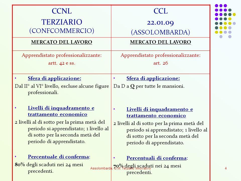 Assolombarda, G.M. Terziario Innovativo4 CCNL TERZIARIO (CONFCOMMERCIO) CCL 22.01.09 (ASSOLOMBARDA) MERCATO DEL LAVORO Apprendistato professionalizzan