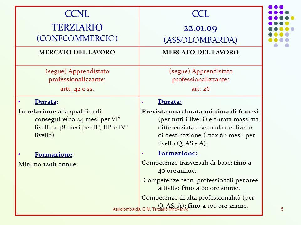 Assolombarda, G.M. Terziario Innovativo5 CCNL TERZIARIO (CONFCOMMERCIO) CCL 22.01.09 (ASSOLOMBARDA) MERCATO DEL LAVORO (segue) Apprendistato professio