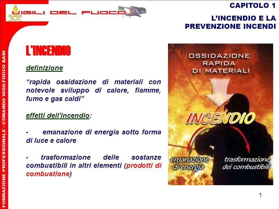 12 CAPITOLO 1 LINCENDIO E LA PREVENZIONE INCENDI La combustione può presentarsi in due forme: - combustione viva con fiamme - combustione lenta senza fiamme, ma con formazione di brace incandescente.