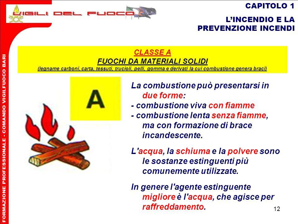 12 CAPITOLO 1 LINCENDIO E LA PREVENZIONE INCENDI La combustione può presentarsi in due forme: - combustione viva con fiamme - combustione lenta senza