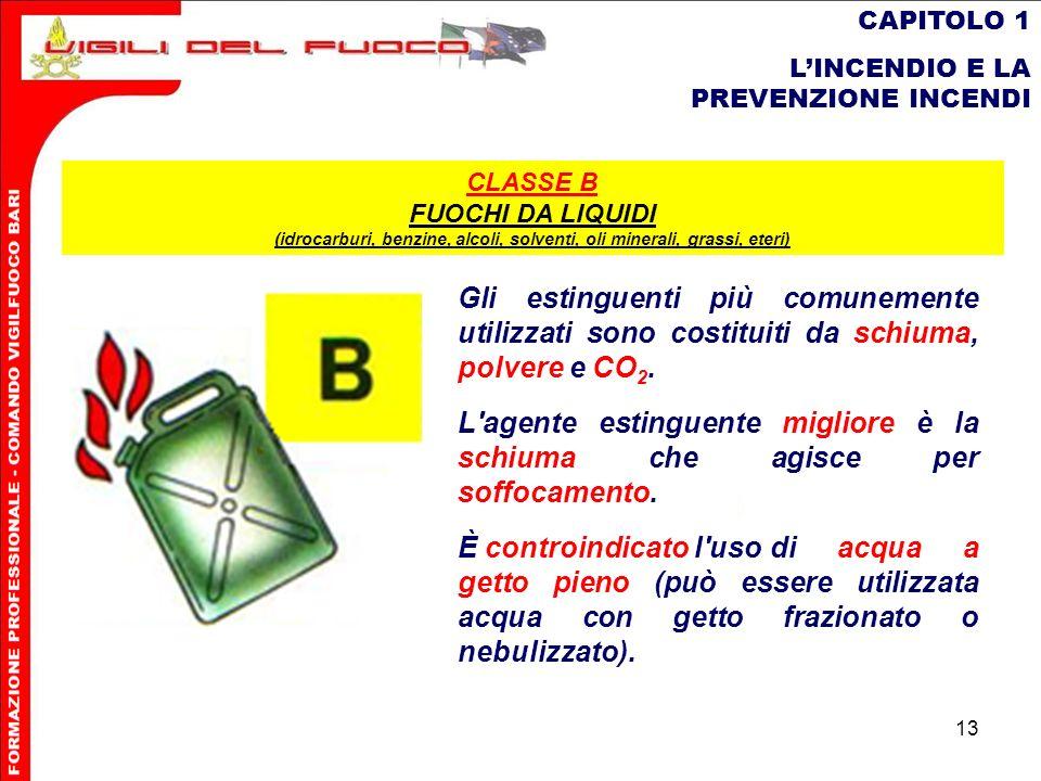 13 CAPITOLO 1 LINCENDIO E LA PREVENZIONE INCENDI Gli estinguenti più comunemente utilizzati sono costituiti da schiuma, polvere e CO 2. L'agente estin