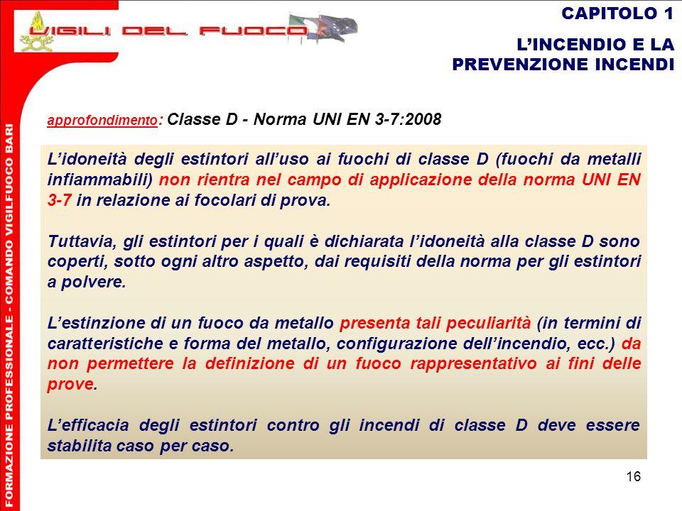 16 CAPITOLO 1 LINCENDIO E LA PREVENZIONE INCENDI Lidoneità degli estintori alluso ai fuochi di classe D (fuochi da metalli inammabili) non rientra nel