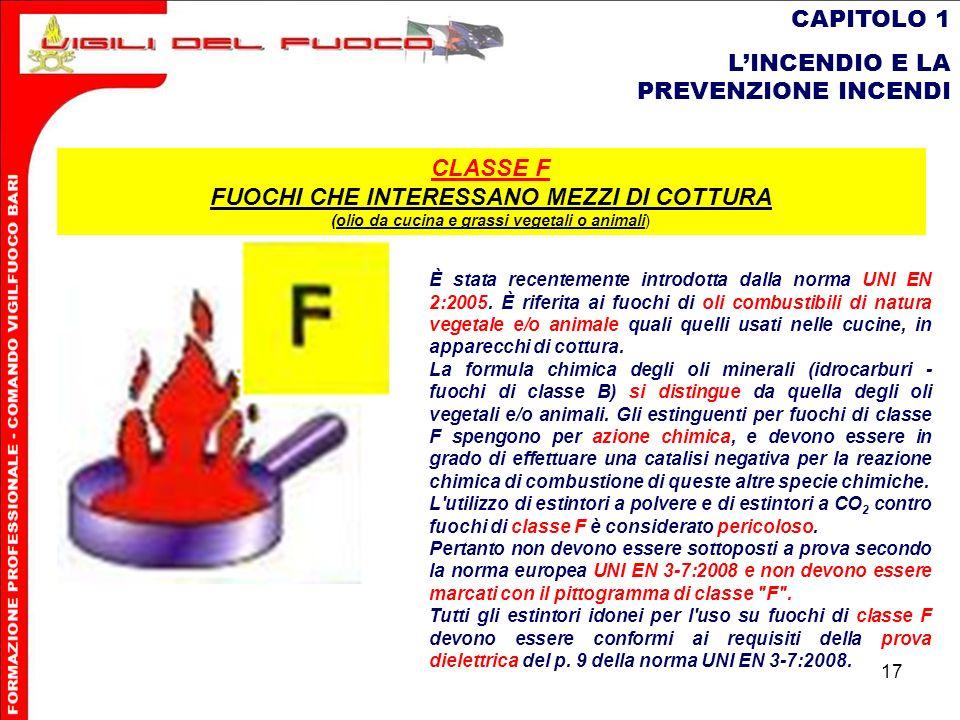 17 CAPITOLO 1 LINCENDIO E LA PREVENZIONE INCENDI È stata recentemente introdotta dalla norma UNI EN 2:2005. È riferita ai fuochi di oli combustibili d