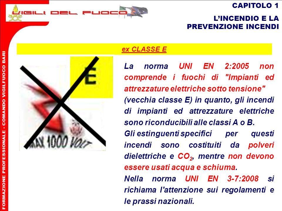 18 CAPITOLO 1 LINCENDIO E LA PREVENZIONE INCENDI La norma UNI EN 2:2005 non comprende i fuochi di