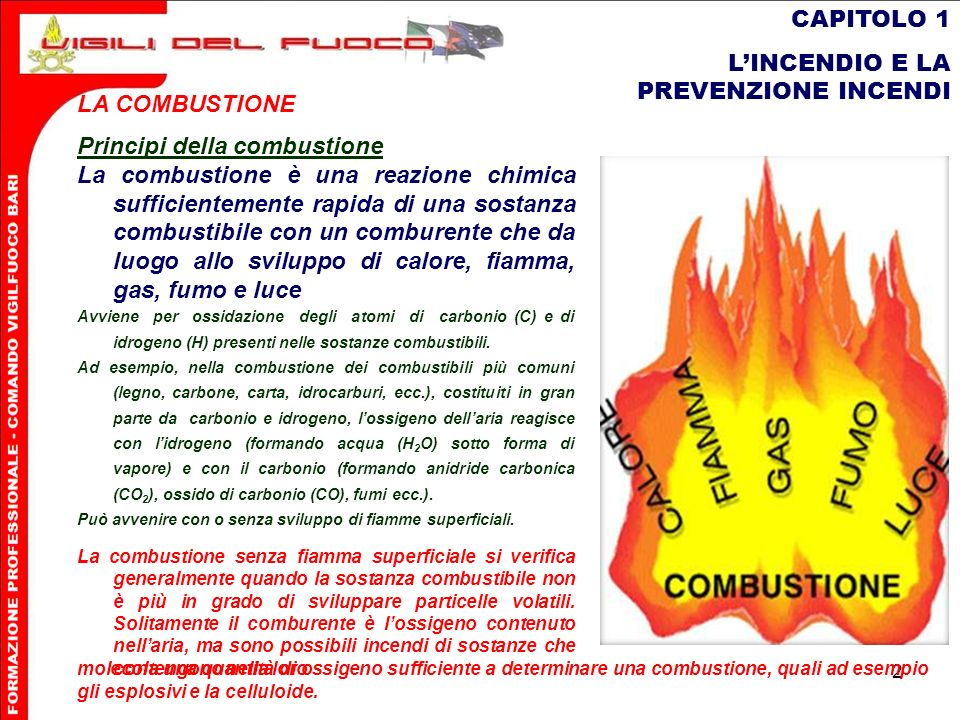 2 CAPITOLO 1 LINCENDIO E LA PREVENZIONE INCENDI LA COMBUSTIONE Principi della combustione La combustione è una reazione chimica sufficientemente rapid