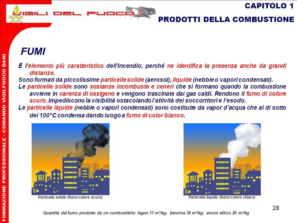 28 CAPITOLO 1 PRODOTTI DELLA COMBUSTIONE FUMI È l'elemento più caratteristico dell'incendio, perché ne identifica la presenza anche da grandi distanze