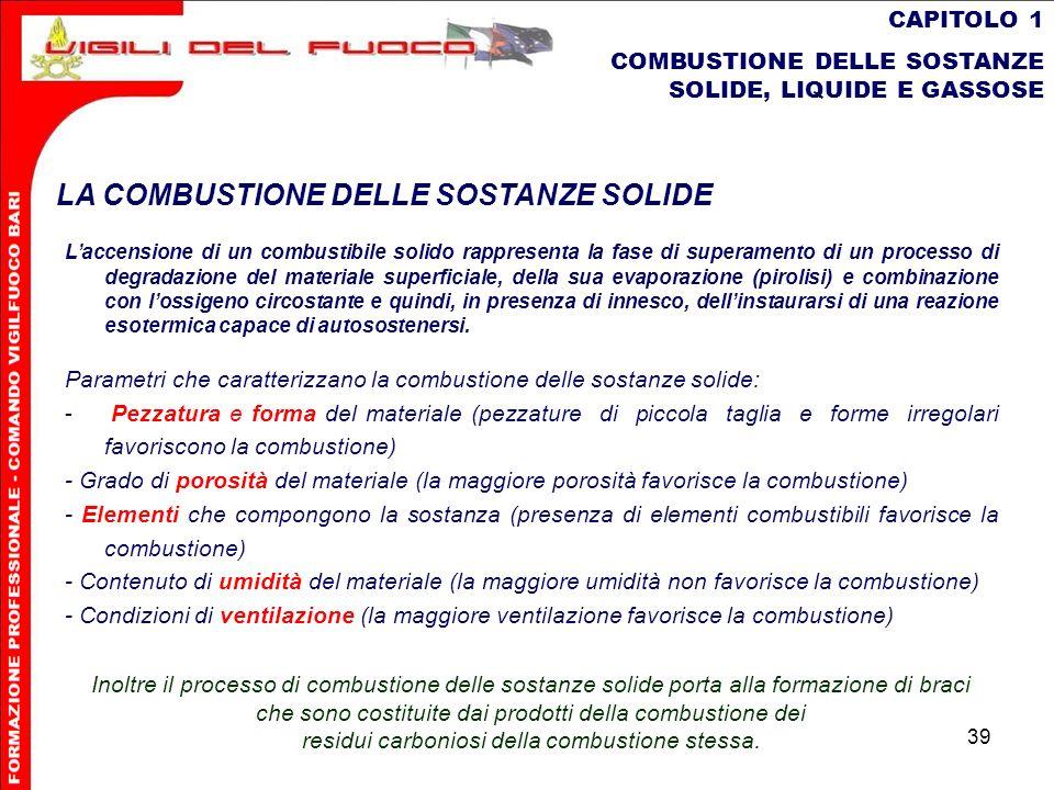 39 CAPITOLO 1 COMBUSTIONE DELLE SOSTANZE SOLIDE, LIQUIDE E GASSOSE LA COMBUSTIONE DELLE SOSTANZE SOLIDE Laccensione di un combustibile solido rapprese