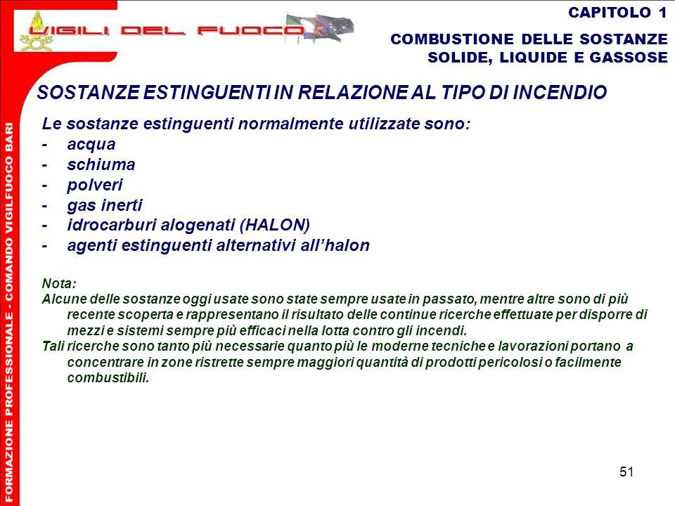 51 CAPITOLO 1 COMBUSTIONE DELLE SOSTANZE SOLIDE, LIQUIDE E GASSOSE SOSTANZE ESTINGUENTI IN RELAZIONE AL TIPO DI INCENDIO Le sostanze estinguenti norma