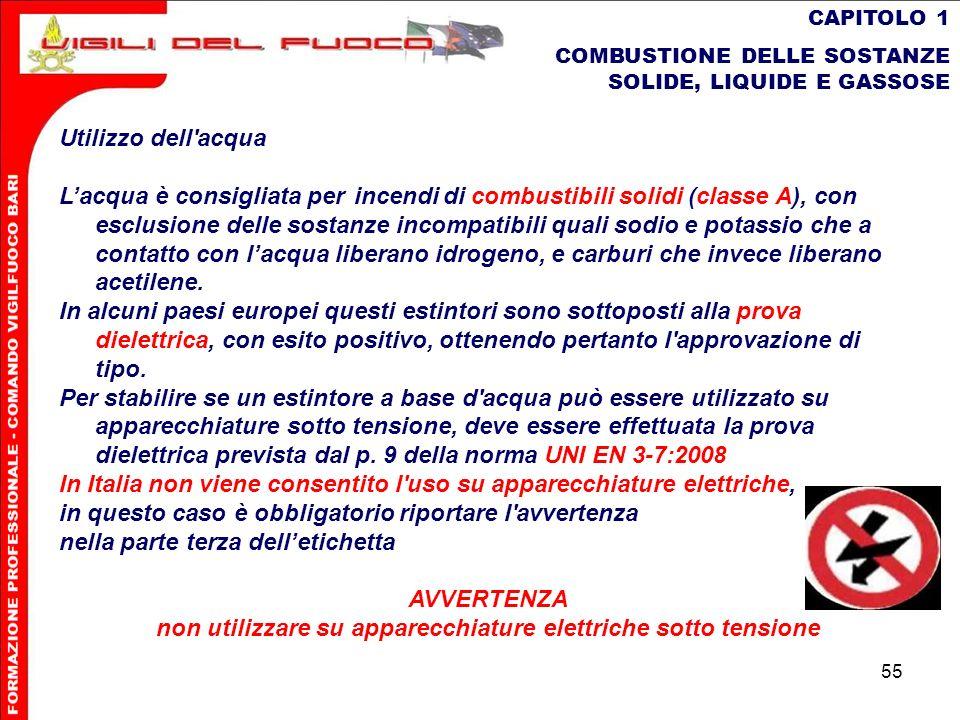 55 CAPITOLO 1 COMBUSTIONE DELLE SOSTANZE SOLIDE, LIQUIDE E GASSOSE Utilizzo dell'acqua Lacquaè consigliata per incendidi combustibili solidi (classe A