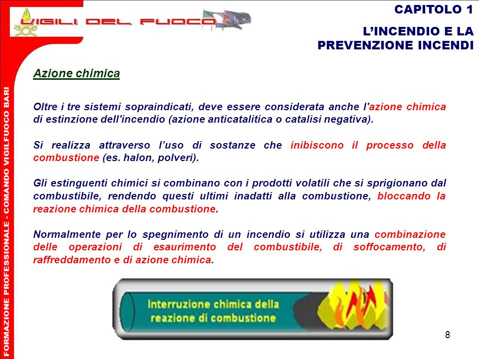 8 CAPITOLO 1 LINCENDIO E LA PREVENZIONE INCENDI Oltre i tre sistemi sopraindicati, deve essere considerata anche l'azione chimica di estinzione dell'i