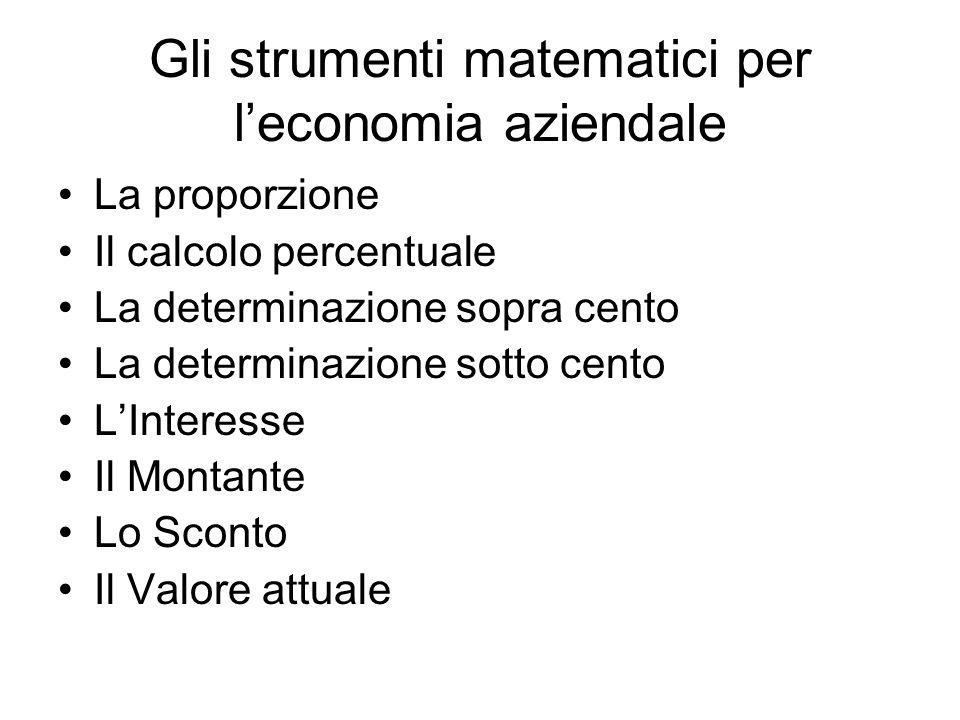 Gli strumenti matematici per leconomia aziendale La proporzione Il calcolo percentuale La determinazione sopra cento La determinazione sotto cento LIn