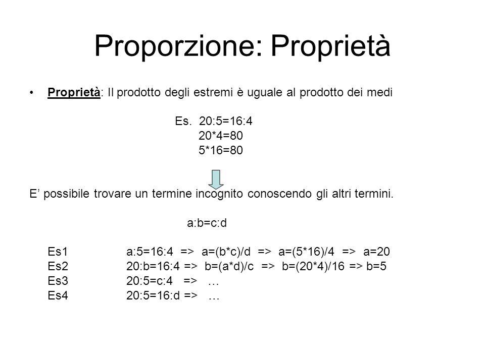 Proporzione: Proprietà Proprietà: Il prodotto degli estremi è uguale al prodotto dei medi Es. 20:5=16:4 20*4=80 5*16=80 E possibile trovare un termine