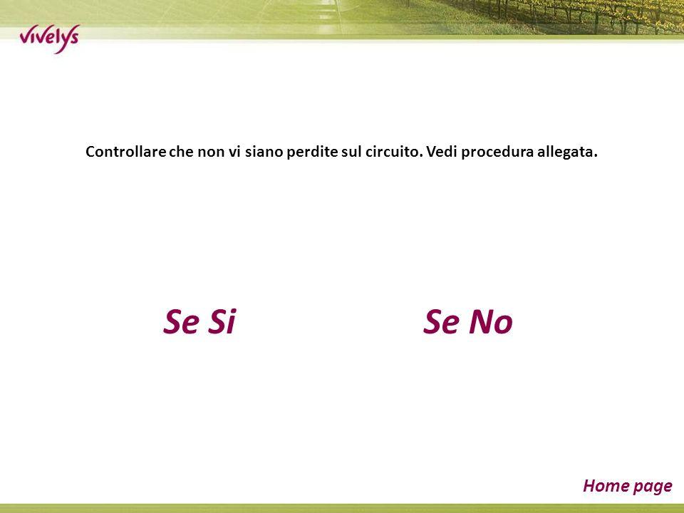 Se SiSe No Home page Controllare che non vi siano perdite sul circuito. Vedi procedura allegata.