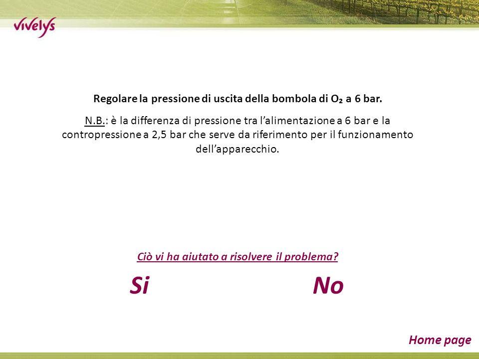Regolare la pressione di uscita della bombola di O a 6 bar. N.B.: è la differenza di pressione tra lalimentazione a 6 bar e la contropressione a 2,5 b