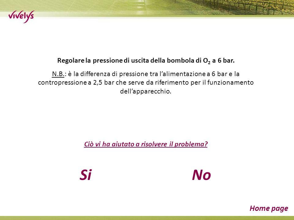 Regolare la pressione di uscita della bombola di O 2 a 6 bar. N.B.: è la differenza di pressione tra lalimentazione a 6 bar e la contropressione a 2,5