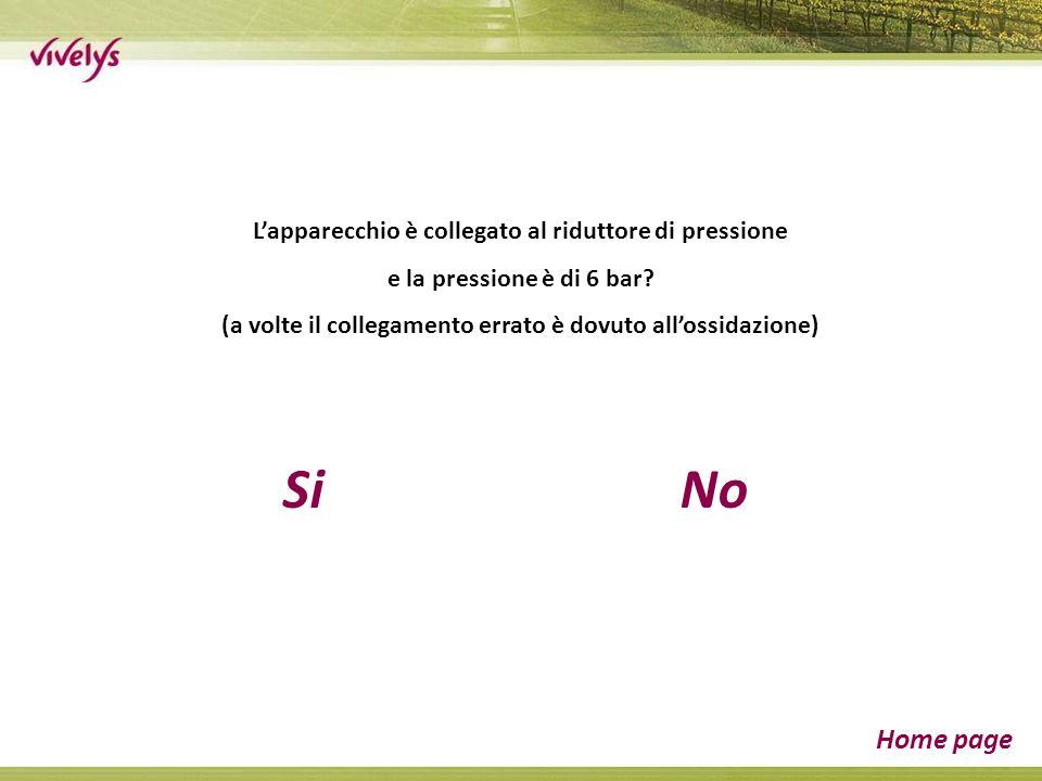 SiNo Home page Lapparecchio è collegato al riduttore di pressione e la pressione è di 6 bar.