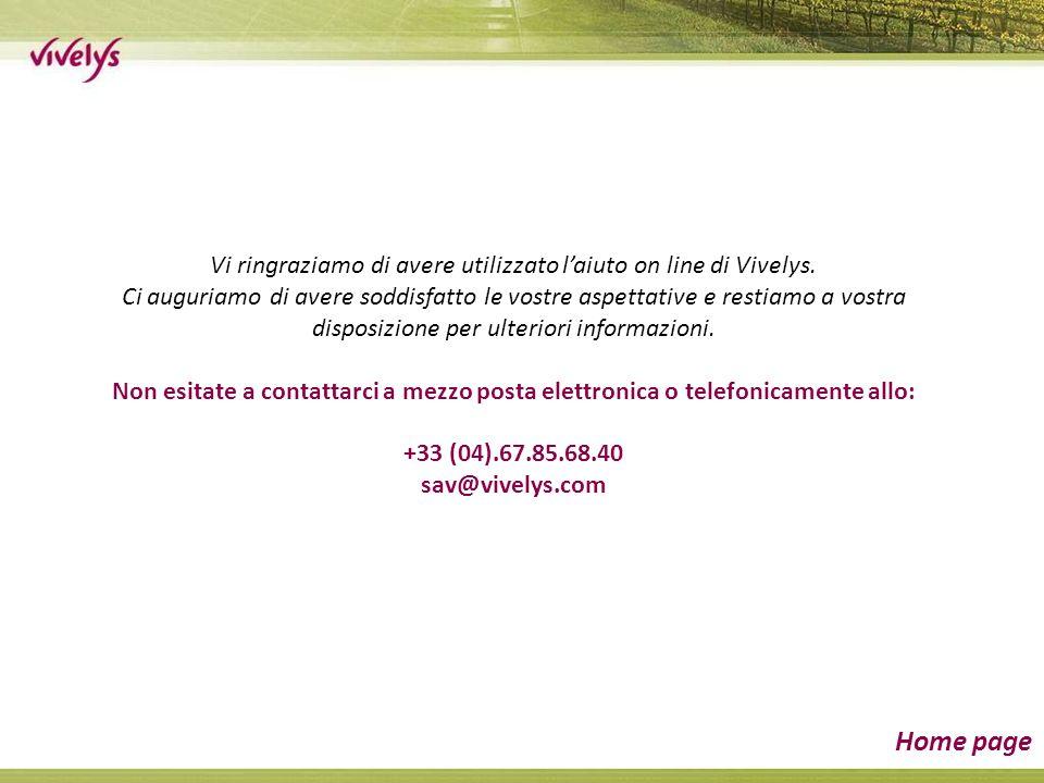 Vi ringraziamo di avere utilizzato laiuto on line di Vivelys. Ci auguriamo di avere soddisfatto le vostre aspettative e restiamo a vostra disposizione