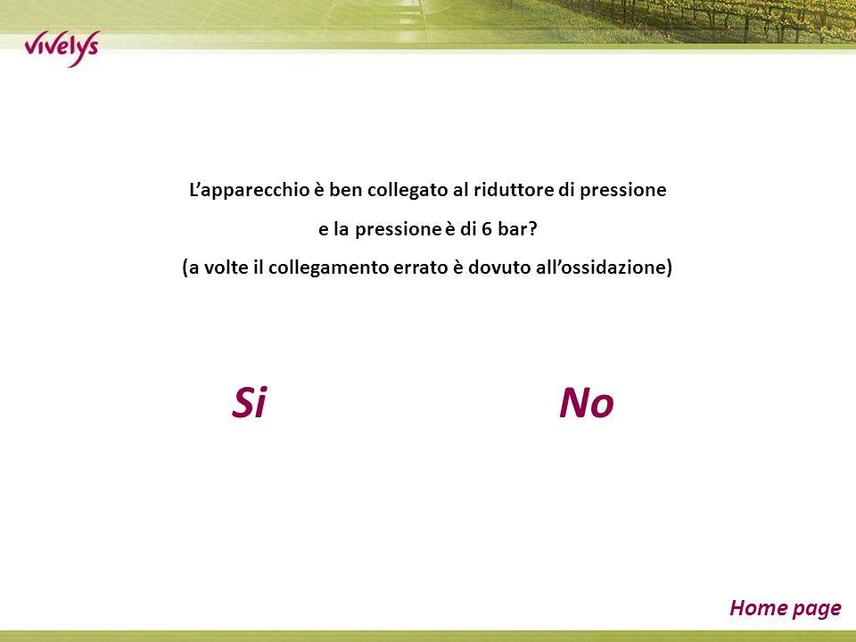 SiNo Home page Lapparecchio è ben collegato al riduttore di pressione e la pressione è di 6 bar.