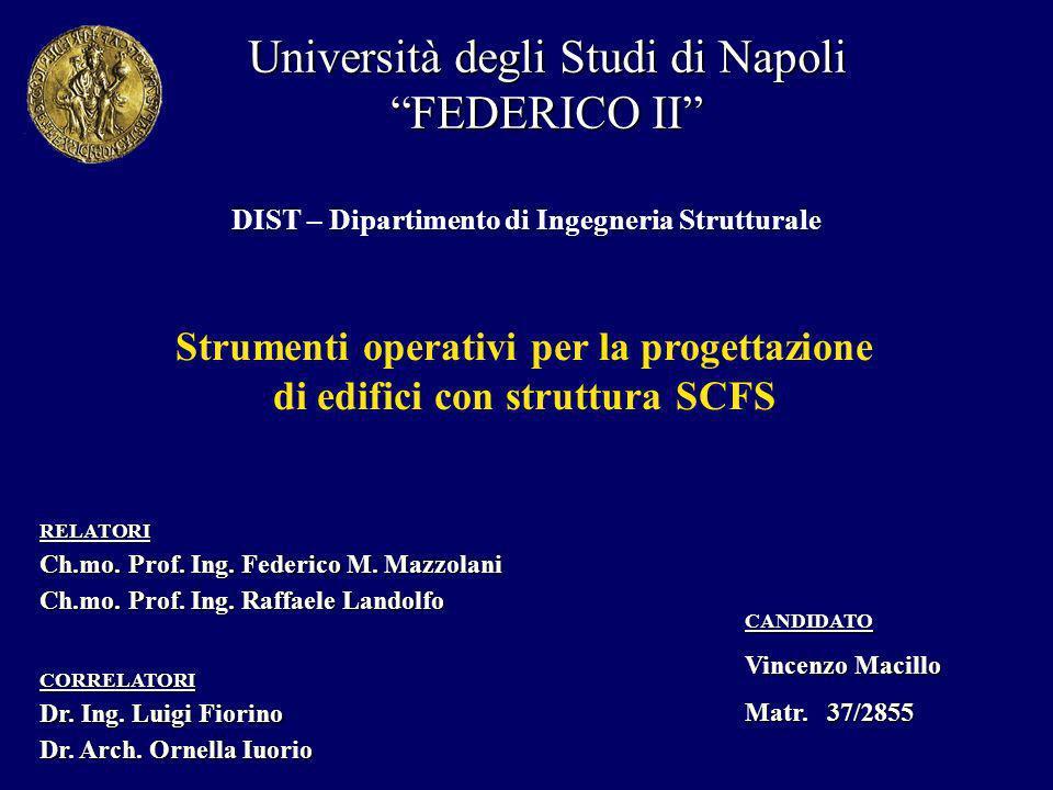 Università degli Studi di Napoli FEDERICO II DIST – Dipartimento di Ingegneria Strutturale CANDIDATO Vincenzo Macillo Matr.