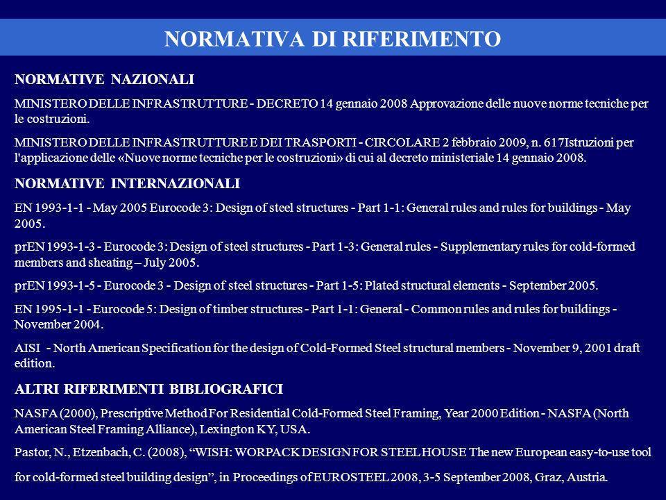 NORMATIVA DI RIFERIMENTO NORMATIVE NAZIONALI MINISTERO DELLE INFRASTRUTTURE - DECRETO 14 gennaio 2008 Approvazione delle nuove norme tecniche per le costruzioni.