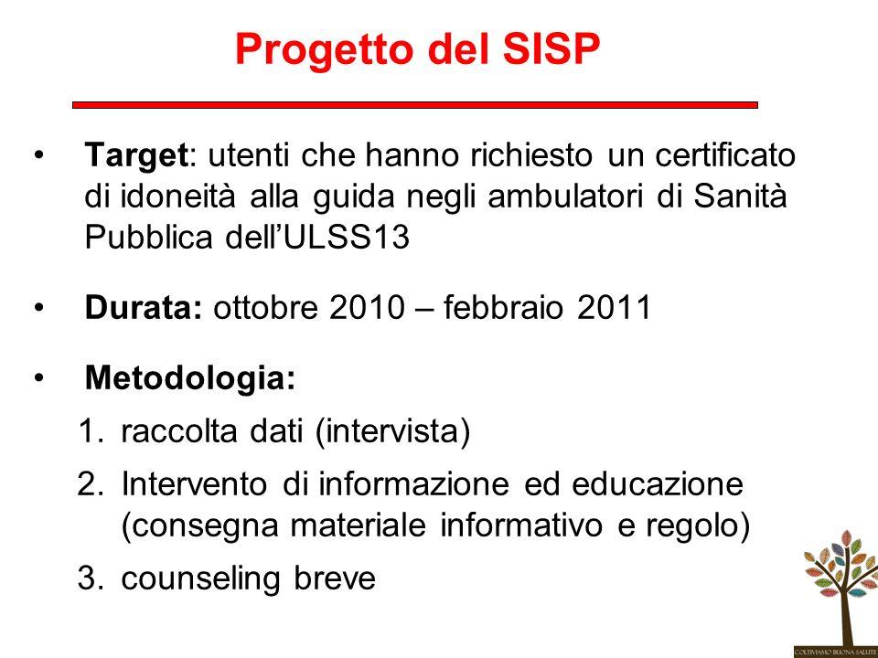 Progetto del SISP Target: utenti che hanno richiesto un certificato di idoneità alla guida negli ambulatori di Sanità Pubblica dellULSS13 Durata: otto