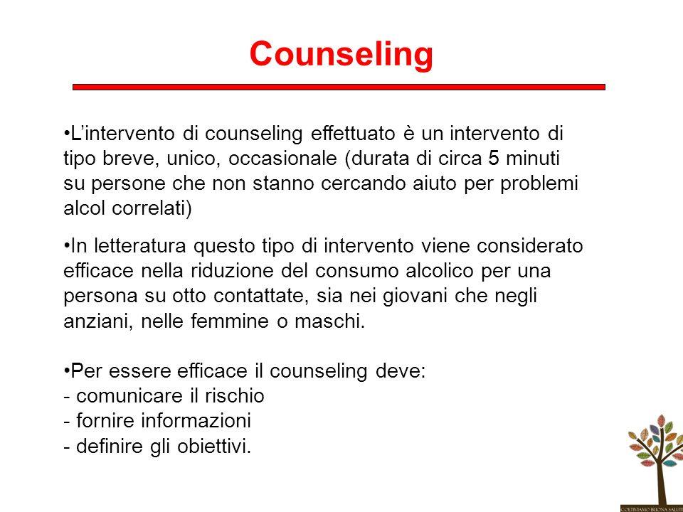 Counseling Lintervento di counseling effettuato è un intervento di tipo breve, unico, occasionale (durata di circa 5 minuti su persone che non stanno