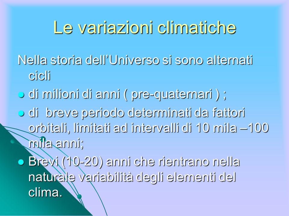Le variazioni climatiche Nella storia dellUniverso si sono alternati cicli di milioni di anni ( pre-quaternari ) ; di milioni di anni ( pre-quaternari