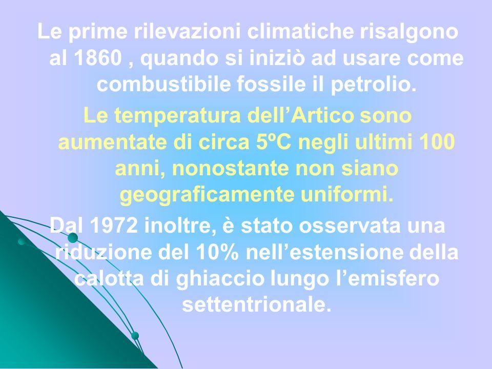 Le prime rilevazioni climatiche risalgono al 1860, quando si iniziò ad usare come combustibile fossile il petrolio. Le temperatura dellArtico sono aum